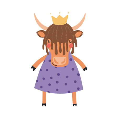 Hand drawn vector illustration of a cute funny yak girl in a dress. Isolated objects on white background. Scandinavian style flat design. Concept for children print. Illustration