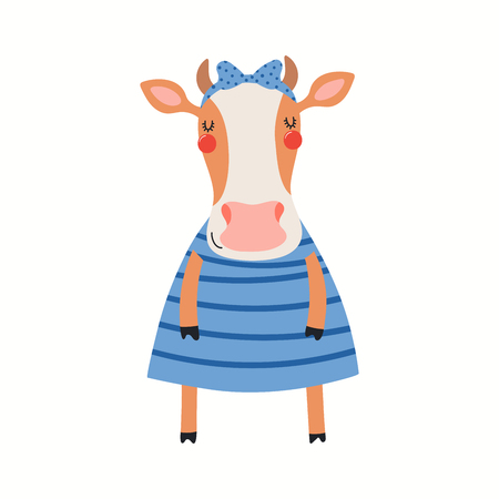 Hand drawn vector illustration of a cute funny cow girl in a dress. Isolated objects on white background. Scandinavian style flat design. Concept for children print.