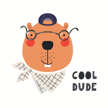 Hand drawn vector illustration of a cute hipster beaver in glasses, with lettering quote Cool dude. Isolated objects on white background. Scandinavian style flat design. Concept for children print.