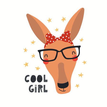 Hand drawn vector illustration of a cute hipster kangaroo in glasses, with lettering quote Cool girl. Isolated objects on white background. Scandinavian style flat design. Concept for children print.