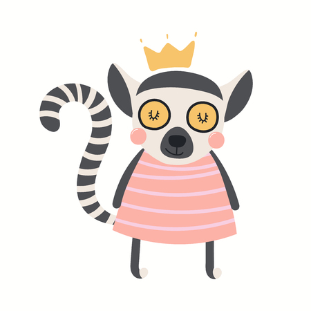 Hand drawn vector illustration of a cute funny lemur girl in a dress. Isolated objects on white background. Scandinavian style flat design. Concept for children print.