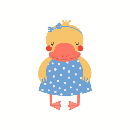 Hand drawn vector illustration of a cute funny duck girl in a dress. Isolated objects on white background. Scandinavian style flat design. Concept for children print.