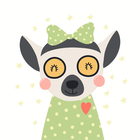Hand drawn portrait of a cute lemur in shirt and ribbon, with stars. Vector illustration. Isolated objects on white background. Scandinavian style flat design. Concept for children print. Banco de Imagens - 120443594