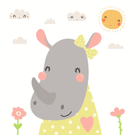 Hand drawn portrait of a cute rhino in shirt and ribbon, with sun and clouds. Vector illustration. Isolated objects on white background. Scandinavian style flat design. Concept for children print. Banco de Imagens - 120443600