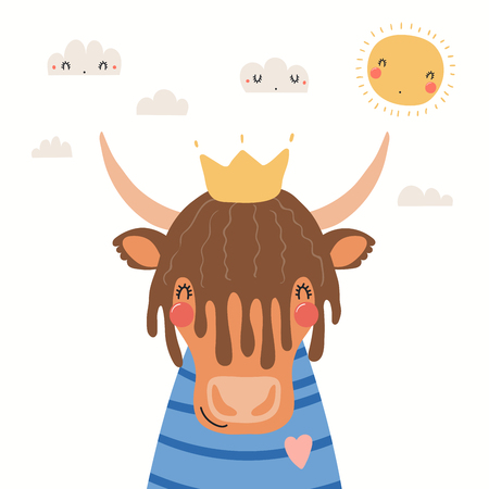 Hand drawn portrait of a cute yak in shirt and crown, with sun and clouds. Vector illustration. Isolated objects on white background. Scandinavian style flat design. Concept for children print.