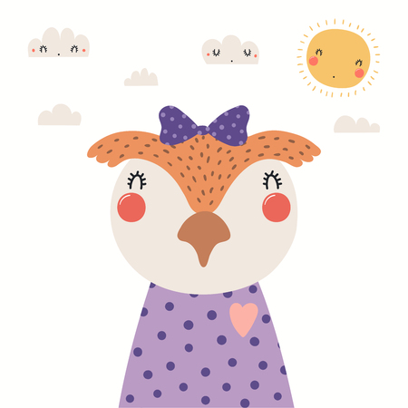 Hand drawn portrait of a cute owl in shirt and ribbon, with sun and clouds. Vector illustration. Isolated objects on white background. Scandinavian style flat design. Concept for children print.