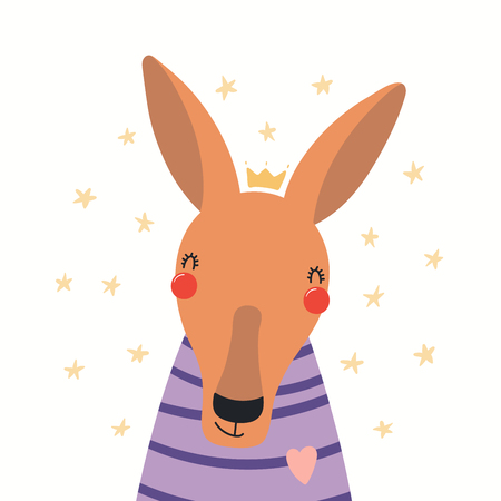 Hand drawn portrait of a cute kangaroo in shirt and crown, with stars. Vector illustration. Isolated objects on white background. Scandinavian style flat design. Concept for children print.