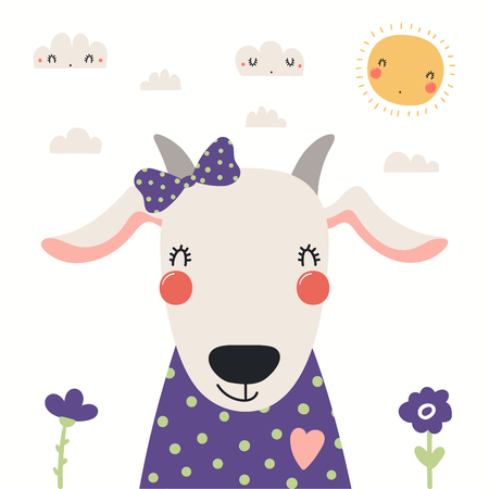 Hand drawn portrait of a cute goat in shirt and ribbon, with sun and clouds. Vector illustration. Isolated objects on white background. Scandinavian style flat design. Concept for children print.