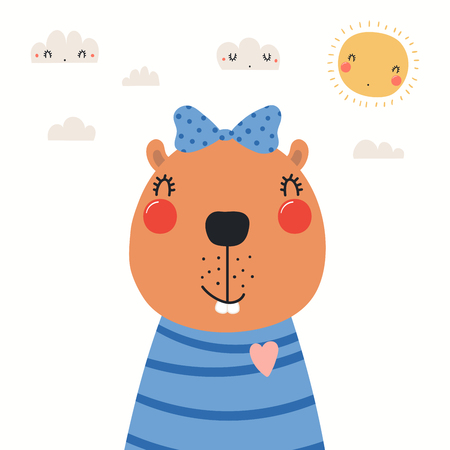 Hand drawn portrait of a cute beaver in shirt and ribbon, with sun and clouds. Vector illustration. Isolated objects on white background. Scandinavian style flat design. Concept for children print. Illustration