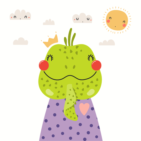 Hand drawn portrait of a cute iguana in shirt and crown, with sun and clouds. Vector illustration. Isolated objects on white background. Scandinavian style flat design. Concept for children print. Banco de Imagens - 120443653