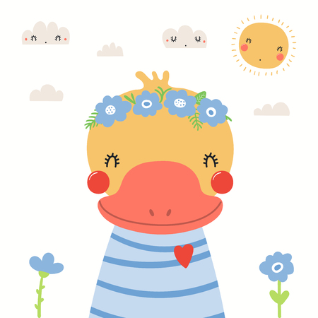 Hand drawn portrait of a cute duck in shirt and flower wreath, with sun, clouds. Vector illustration. Isolated objects on white background. Scandinavian style flat design. Concept for children print.