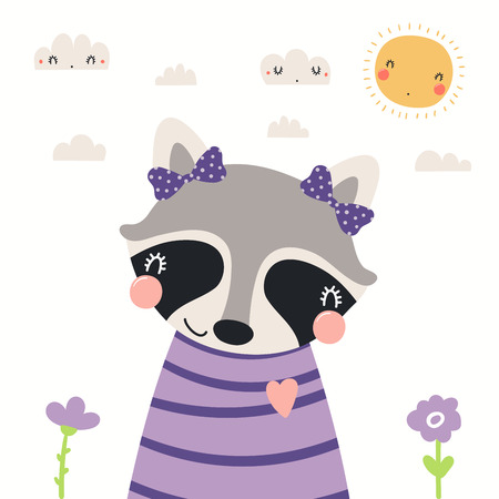 Hand drawn portrait of a cute raccoon in shirt and ribbons, with sun and clouds. Vector illustration. Isolated objects on white background. Scandinavian style flat design. Concept for children print.