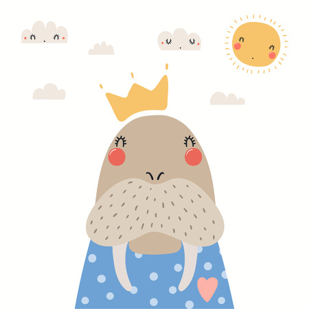Hand drawn portrait of a cute walrus in shirt and crown, with sun and clouds. Vector illustration. Isolated objects on white background. Scandinavian style flat design. Concept for children print. Illustration