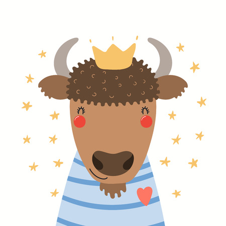 Hand drawn portrait of a cute bison in shirt and crown, with stars. Vector illustration. Isolated objects on white background. Scandinavian style flat design. Concept for children print. Illustration