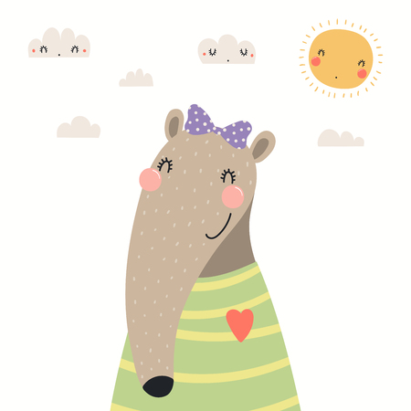 Hand drawn portrait of a cute anteater in shirt and ribbon, with sun and clouds. Vector illustration. Isolated objects on white background. Scandinavian style flat design. Concept for children print.