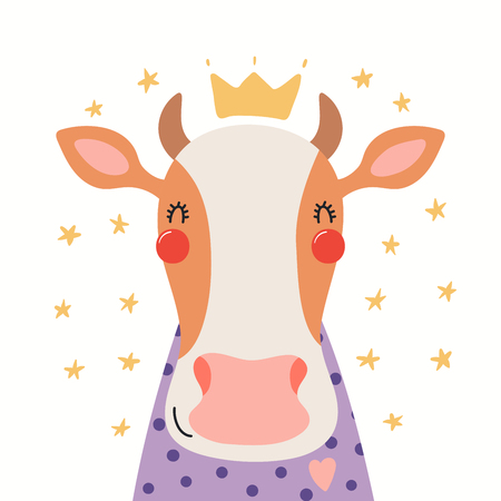 Hand drawn portrait of a cute cow in shirt and crown, with stars. Vector illustration. Isolated objects on white background. Scandinavian style flat design. Concept for children print.