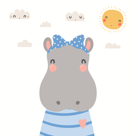 Hand drawn portrait of a cute hippo in shirt and ribbon, with sun and clouds. Vector illustration. Isolated objects on white background. Scandinavian style flat design. Concept for children print. Illustration