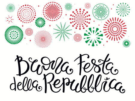 Hand written Italian lettering quote Buona Festa Della Repubblica, Happy Republic Day, with fireworks in Italy flag colors. Isolated on white. Vector illustration. Design for poster, banner, card.