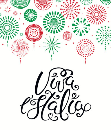 Hand written Italian lettering quote Viva l Italia, Long live Italy, with fireworks in flag colors. Isolated objects on white background. Vector illustration. Design element for poster, banner, card. Ilustração
