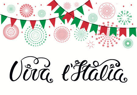 Hand written Italian lettering quote Viva l Italia, Long live Italy, with fireworks in flag colors. Isolated objects on white background. Vector illustration. Design element for poster, banner, card. Banco de Imagens - 120443911