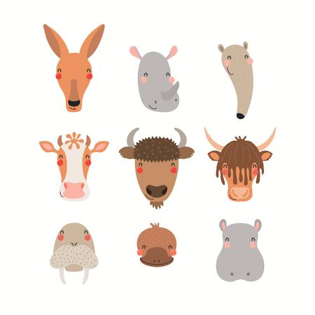 Große Reihe süßer lustiger Tiergesichter. Isolierte Objekte auf weißem Hintergrund. Handgezeichnete Vektor-Illustration. Flaches Design im skandinavischen Stil. Konzept für Kinderdruck.