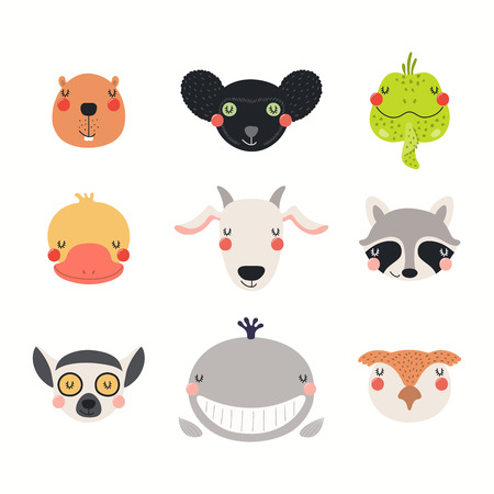 Big set of cute funny animals faces. Isolated objects on white background. Hand drawn vector illustration. Scandinavian style flat design. Concept for children print. Banco de Imagens - 120443934