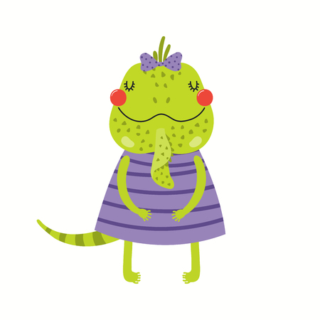 Hand drawn vector illustration of a cute funny iguana girl in a dress. Isolated objects on white background. Scandinavian style flat design. Concept for children print.