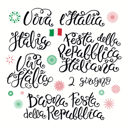 Set of Italian quotes, with fireworks in flag colors. Festa Della Repubblica Italiana 2 guigno, Happy Republic Day June 2. Isolated on white background. Vector illustration. Design poster, banner.