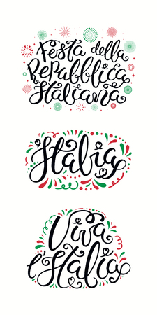 Set of Italian quotes, Festa Della Repubblica Italiana, Happy Republic Day, with fireworks in flag colors. Isolated on white background. Vector illustration. Design element for poster, banner, card.