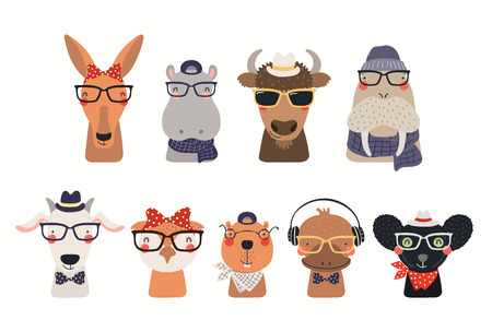Big set of cute hipster animals in hats and glasses. Isolated objects on white background. Hand drawn vector illustration. Scandinavian style flat design. Concept for children print. 矢量图像