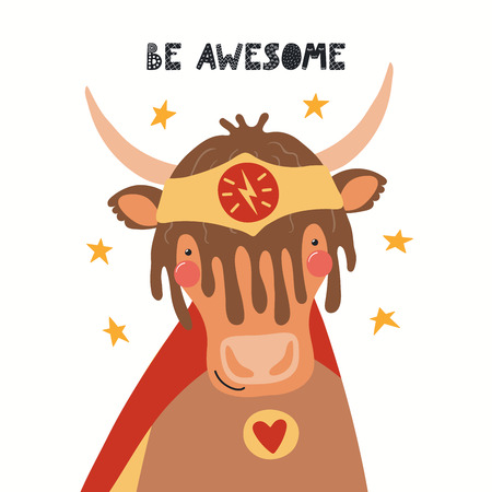 Hand drawn vector illustration of a cute yak superhero, with lettering quote Be awesome. Isolated objects on white background. Scandinavian style flat design. Concept for children print. Stock Illustratie
