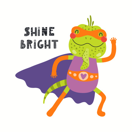 Hand drawn vector illustration of a cute iguana superhero, with lettering quote Shine bright. Isolated objects on white background. Scandinavian style flat design. Concept for children print. Ilustração