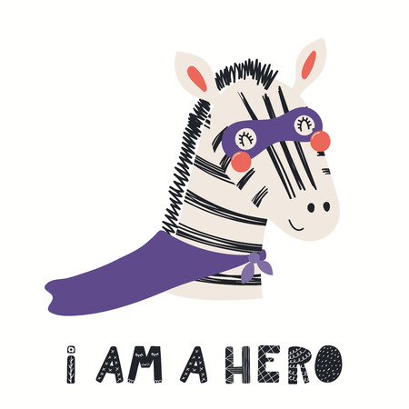 Hand drawn vector illustration of a cute zebra superhero, with lettering quote I am a hero. Isolated objects on white background. Scandinavian style flat design. Concept for children print. Banco de Imagens - 120445342