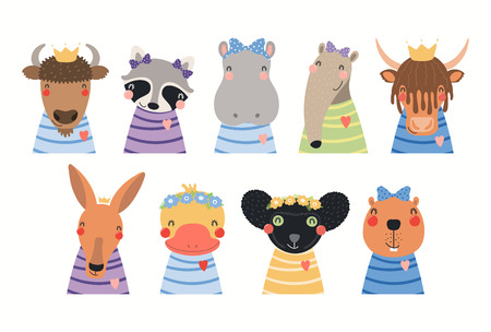 Big set of cute animals in t-shirts, crowns, ribbons, flower wrethes. Isolated objects on white background. Hand drawn vector illustration. Scandinavian style flat design. Concept for children print.