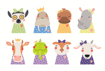 Big set of cute animals in t-shirts, crowns, ribbons. Isolated objects on white background. Hand drawn vector illustration. Scandinavian style flat design. Concept for children print.