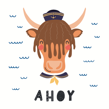 Hand drawn vector illustration of a cute yak sailor, with sea waves, lettering quote Ahoy. Isolated objects on white background. Scandinavian style flat design. Concept for children print. Illustration