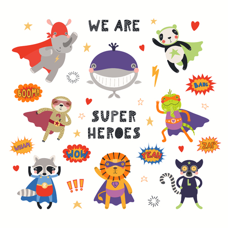 Grande set di simpatici supereroi animali, con citazione Siamo supereroi. Oggetti isolati su sfondo bianco. Illustrazione vettoriale disegnato a mano. Design piatto in stile scandinavo. Concetto per la stampa dei bambini.