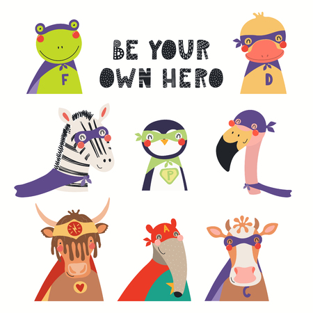 Big set of cute animal superheroes, with lettering Be your own hero. Isolated objects on white background. Hand drawn vector illustration. Scandinavian style flat design. Concept for children print. Illustration