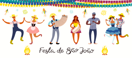 Festa Junina banner with dancing people, musicians, lanterns, Portuguese text Festa de Sao Joao. Isolated objects. Hand drawn vector illustration. Flat style design. Concept for holiday poster, flyer. Иллюстрация