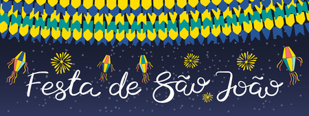 Festa Junina banner with lanterns, bunting, fireworks, Portuguese text Festa de Sao Joao, on dark background. Hand drawn vector illustration. Flat style design. Concept for holiday poster, flyer.