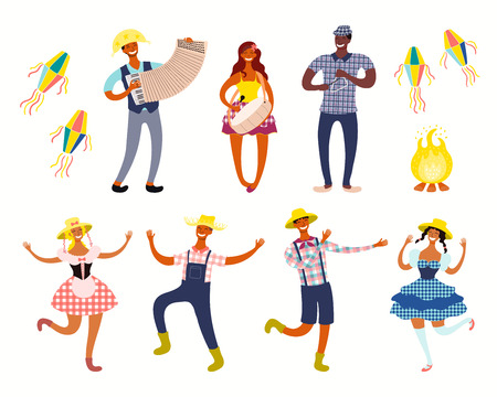 Festa Junina set with dancing people, musicians, lanterns, bonfire. Isolated objects on white background. Hand drawn vector illustration. Flat style design. Element for holiday banner, flyer, poster.