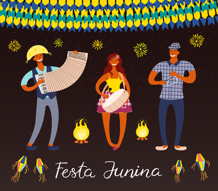 Festa Junina poster with musicians, lanterns, bunting, fireworks, Portuguese text, on dark background. Hand drawn vector illustration. Flat style design. Concept for holiday banner, flyer.