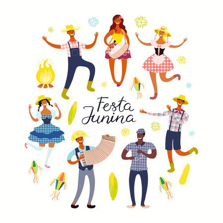 Cartel de Festa Junina con gente bailando, músicos, linternas, texto en portugués. Objetos aislados sobre fondo blanco. Ilustración de vector dibujado a mano. Diseño de estilo plano. Banner de vacaciones de concepto, folleto.