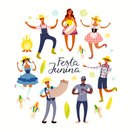 Festa Junina poster with dancing people, musicians, lanterns, Portuguese text. Isolated objects on white background. Hand drawn vector illustration. Flat style design. Concept holiday banner, flyer.