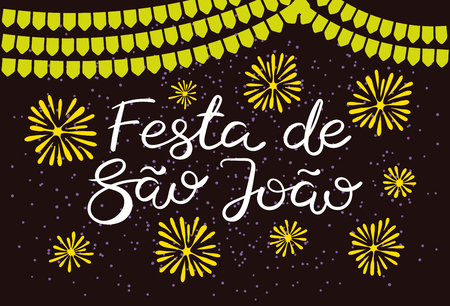 Festa Junina poster with bunting, fireworks, confetti, Portuguese text Festa de Sao Joao, on dark background. Hand drawn vector illustration. Flat style design. Concept for holiday banner, flyer.