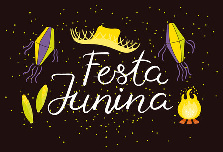 Festa Junina poster with straw hat, lanterns, bonfire, confetti, Portuguese text, on dark background. Hand drawn vector illustration. Flat style design. Concept for holiday banner, flyer. Illustration