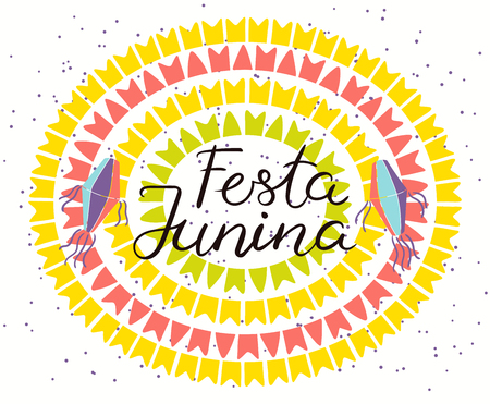 Festa Junina poster with lanterns, bunting, confetti, Portuguese text. Hand drawn vector illustration. Flat style design. Concept for holiday banner, flyer.