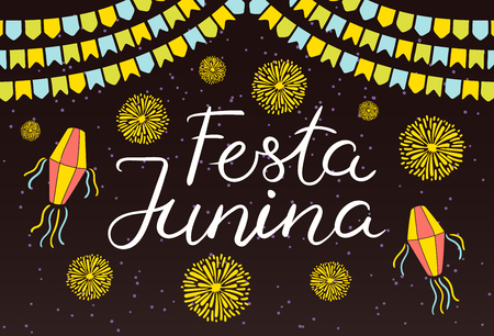 Festa Junina poster with lanterns, bunting, fireworks, confetti, Portuguese text, on dark background. Hand drawn vector illustration. Flat style design. Concept for holiday banner, flyer.