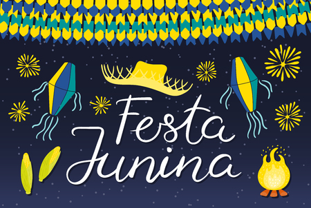 Festa Junina poster with straw hat, lanterns, bunting, fireworks, bonfire, corn, Portuguese text, on dark background. Hand drawn vector illustration. Flat style design. Concept holiday banner, flyer Иллюстрация