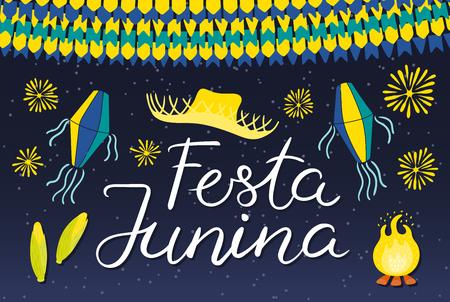 Festa Junina poster with straw hat, lanterns, bunting, fireworks, bonfire, corn, Portuguese text, on dark background. Hand drawn vector illustration. Flat style design. Concept holiday banner, flyer Illustration